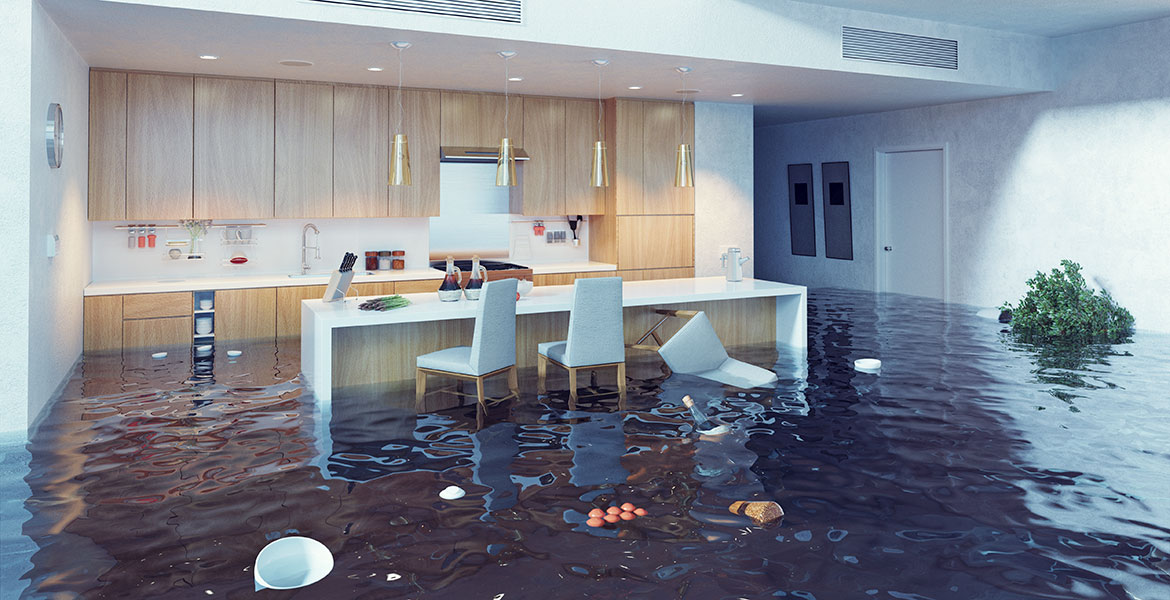 kitchen filled with floodwaters