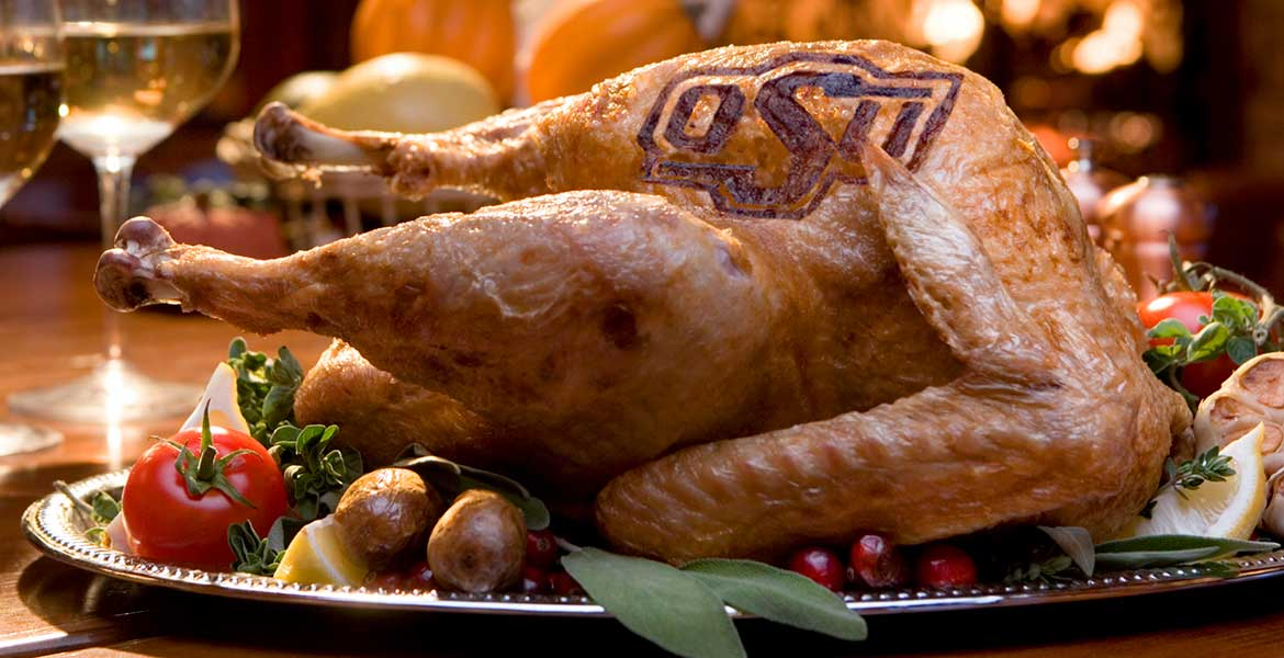 OSU branded turkey on the dinner table.