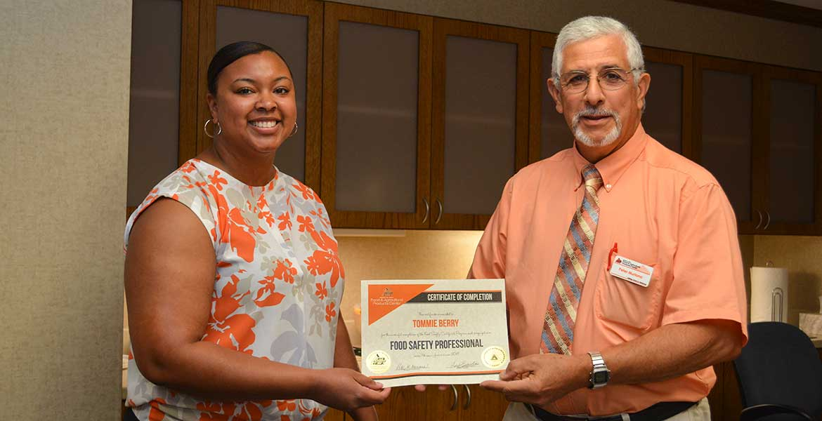 Tommie Berry receives FAPC Food Safety Professional