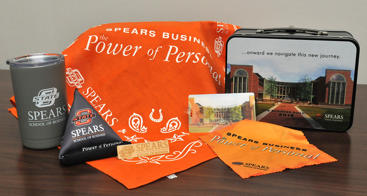 "This welcome gift for faculty and staff to commemorate the move into the new Business Building earned a ""Grand Award"" at the 2018 Oklahoma College Public Relations Association Awards Banquet."