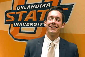 Studying, representing OSU as Pistol Pete keeps MBA student Steven Vekony busy
