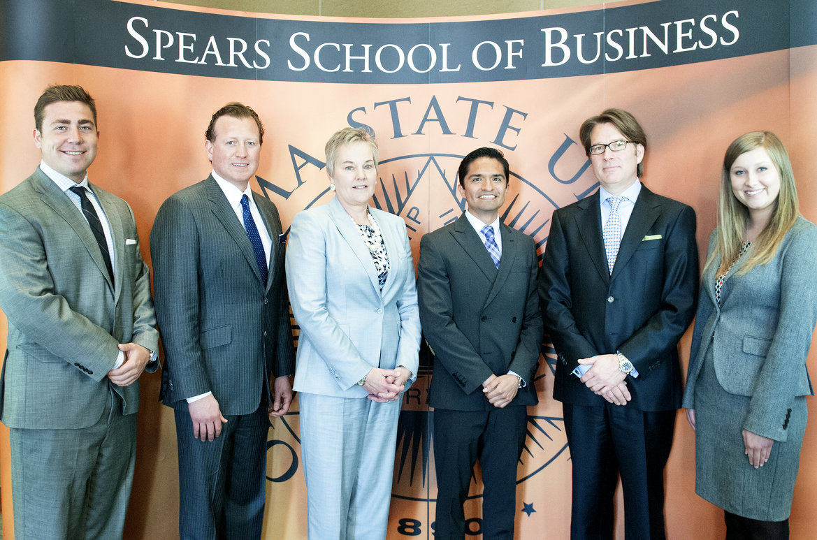 The Spears School's CEO Day was a huge success earlier this week. Participating were, from left, OSU student Cooper Jones; Joseph Eastin, president and principal of ISN; Alicia Smales, chief marketing office for Snap-on International; OSU student Ivan Prieto; Bill Hite, found and CEO of Hull Speed Associates, and OSU student Jana Gregory.