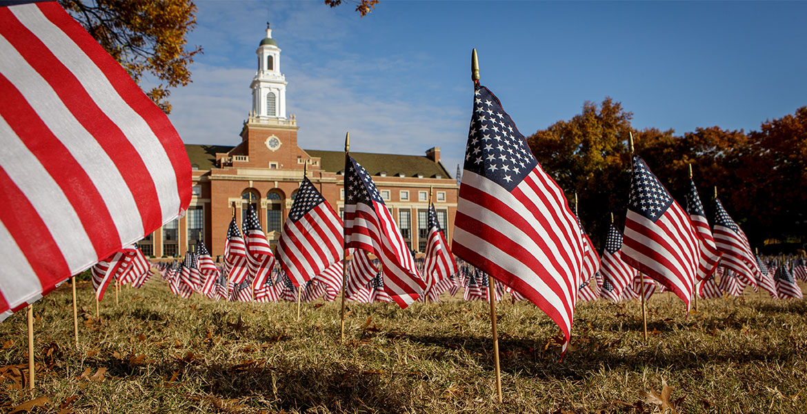 American flags on Library Lawn for Veterans Day.