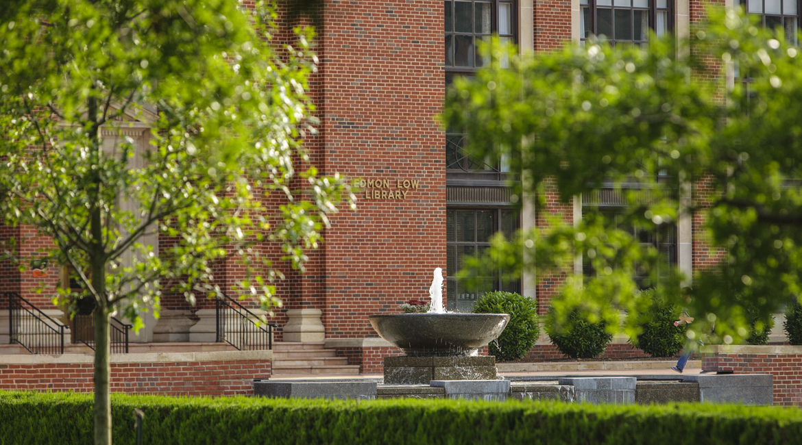 A view of the library fountain