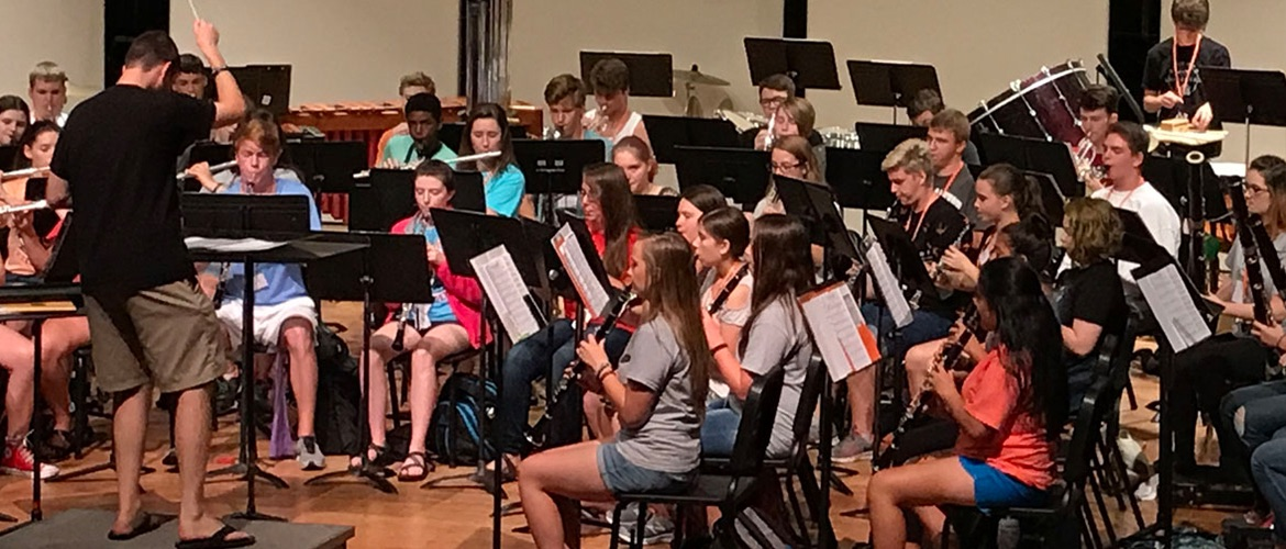 Students play in summer music camp.