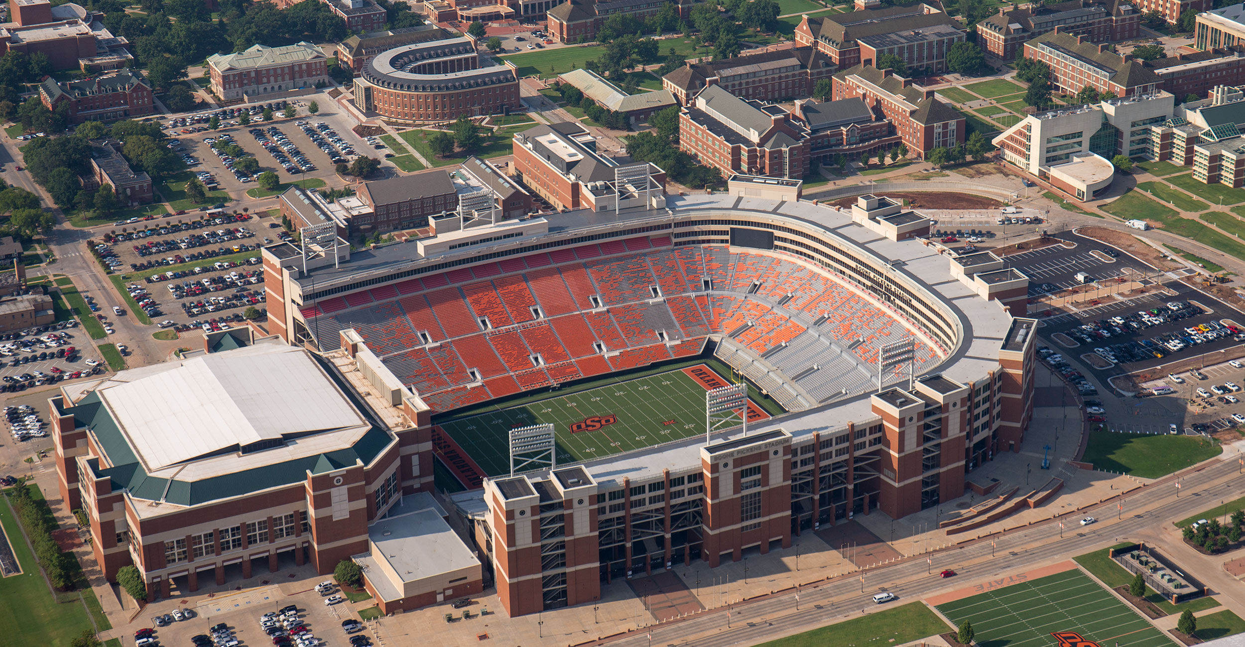 A photo of Boone Pickens Stadium from the sky.