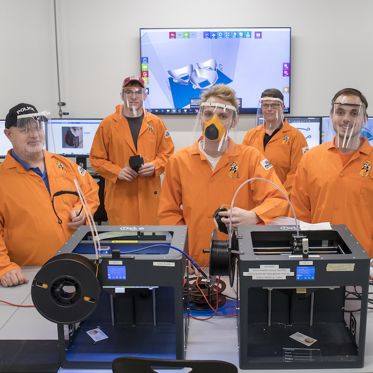 A team from Oklahoma State University's College of Engineering, Architecture and Technology's (CEAT) ENDEAVOR lab is prototyping and manufacturing protective masks and face shields for donation.