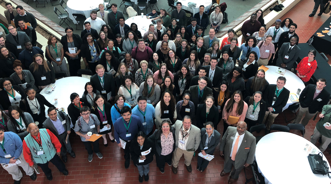 2018 OK-LSAMP symposium attendees pose together at the Noble Research Center in Stillwater. This year's symposium will be 8 a.m. to 5 p.m. Oct. 5 at the OSU student union.