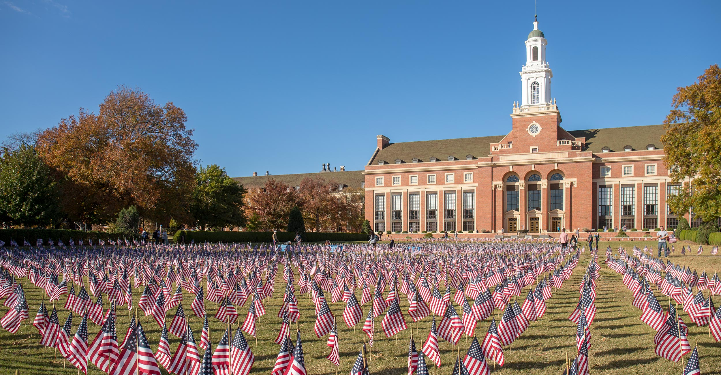 Picture of American flags in front of Edmon Low Library.