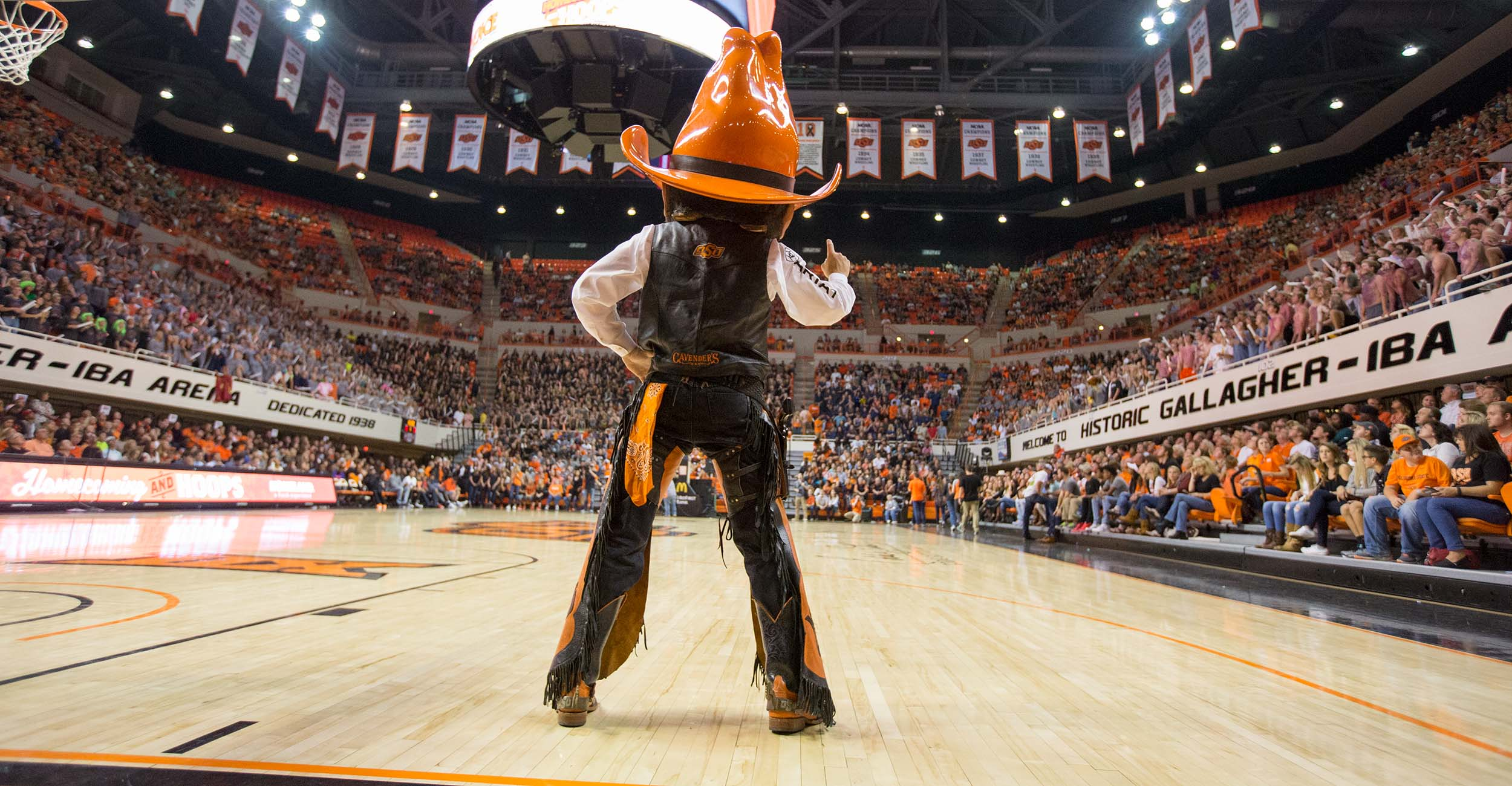 A photo of Pistol Pete at Gallagher-Iba Arena.