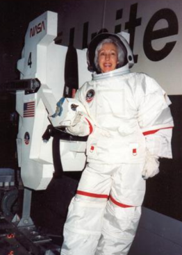 1. Wally Funk, 70, continues training for space travel. Left, she experiences weightlessness in Star City, Russia, in 2000.