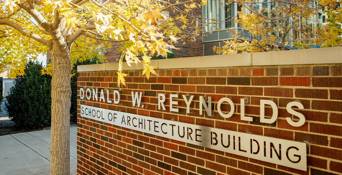 Photo of the entrance to the Donald W. Reynolds School of Architecture building.