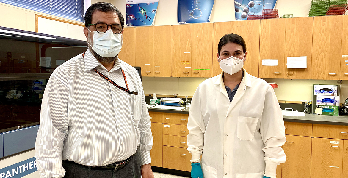 Left, Dr. Anil Kaul, clinical professor and director of the clinical diagnostic laboratory, and Amanda Foster, lead laboratory technician.