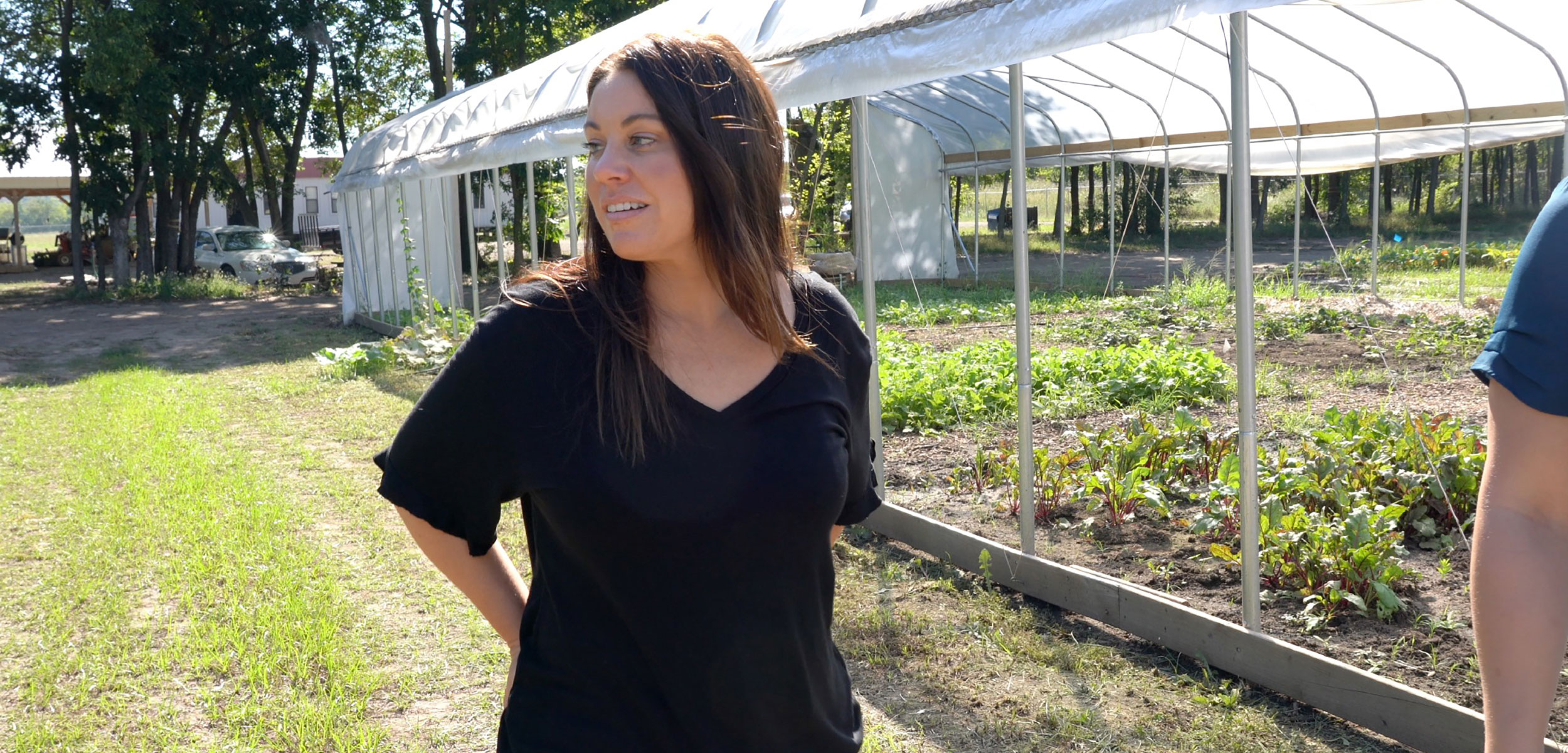 Valarie Blue Bird Jernigan, director of the Center for Indigenous Health Research and Policy, visits a farm operated by the Osage Nation.