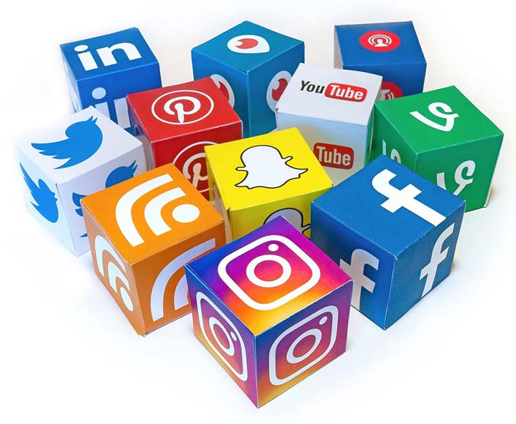 A collection of social media icons.