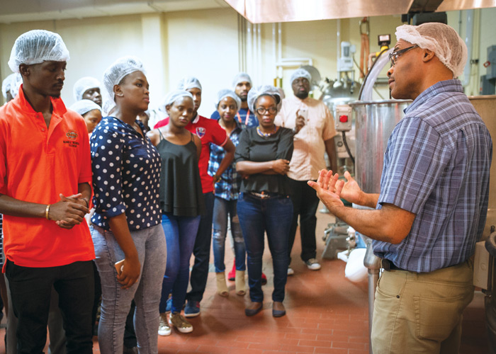 Members of the Mandela Washington Fellowship for Young African Leaders tour OSU's Robert M. Kerr Food & Agricultural Products Center