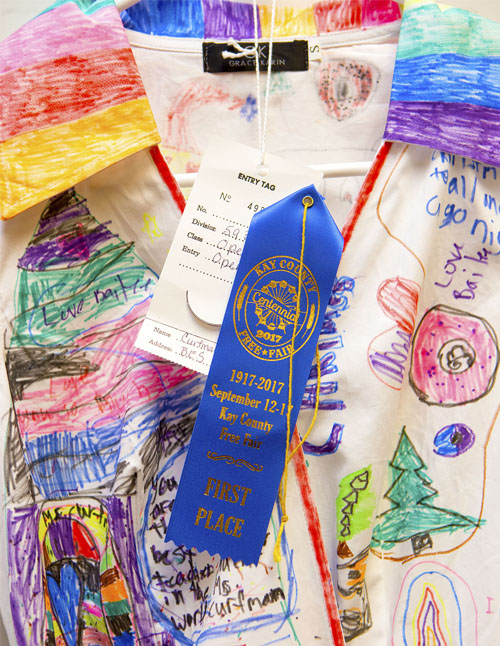 Curfman's dress won first place in the open art category at the County Fair.