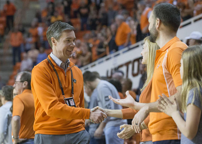 Chad Weiberg greets fans in Gallagher-Iba Arena