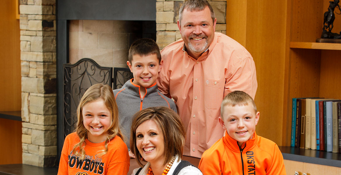 Blaire Atkinson and her family (clockwise from Blaire): daughter Morgan, 8; son Wyatt, 11; husband Matt; and son Westin, 9.