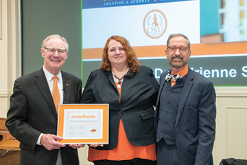OSU Foundation honors educator with an endowed scholarship for her help with Brighter Orange, Brighter Future drive