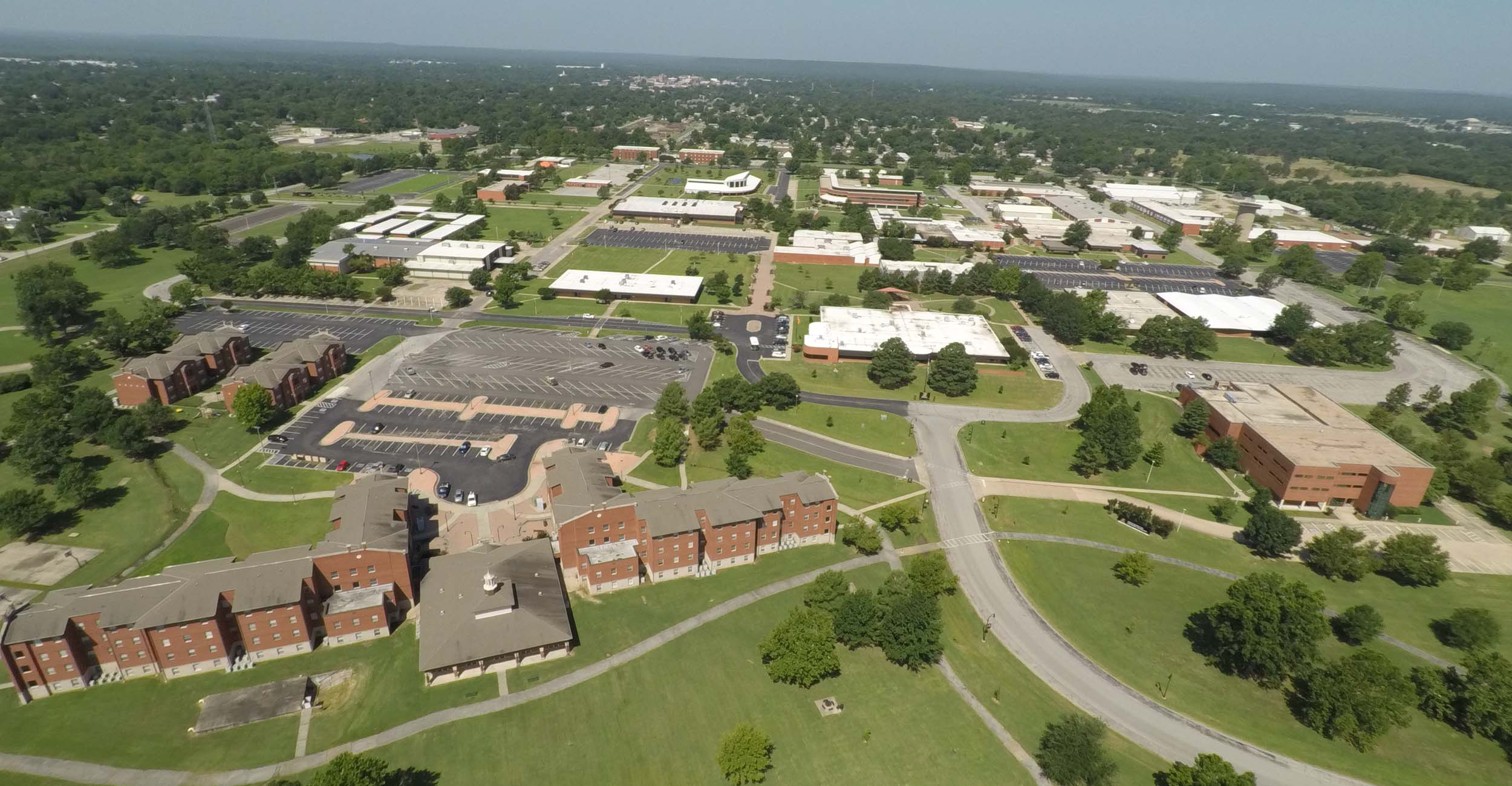 An aerial photo of the OSU Institute of Technology in Okmulgee.