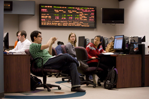 Students participate in class discussion on the Watson Trading Floor.