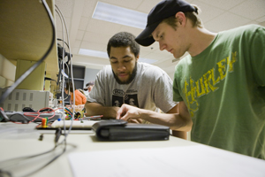 Students work on a project during an electrical engineering lab