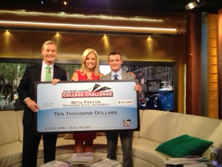 Seth Paxton (right) along with Fox & Friends hosts Steve Doocy (left) and Anna Kooiman (center).