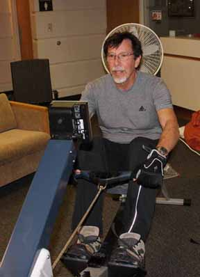 Dr. Steve Price, pictured as he set a world record in rowing for his age and weight category last Saturday.
